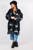 Vintage 90's Abstract Print Faux Fur Coat