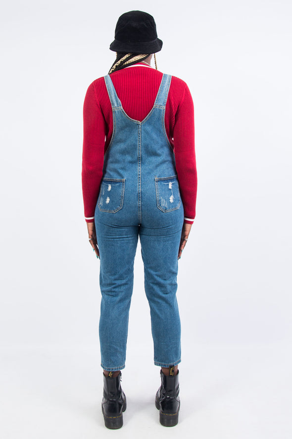 Vintage Distressed Denim Dungarees