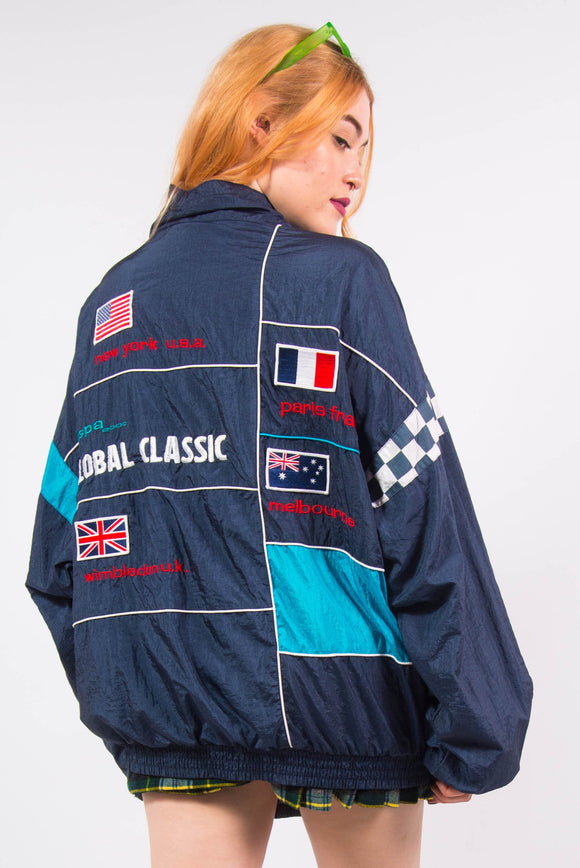 Vintage 90's Racing Style Shell Tracksuit Jacket