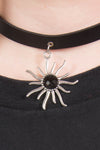 90's Style Faux Leather Sun Choker Necklace