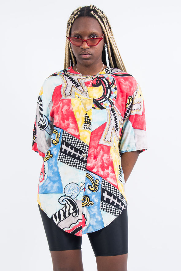 Vintage 90's Abstract Print Blouse Shirt