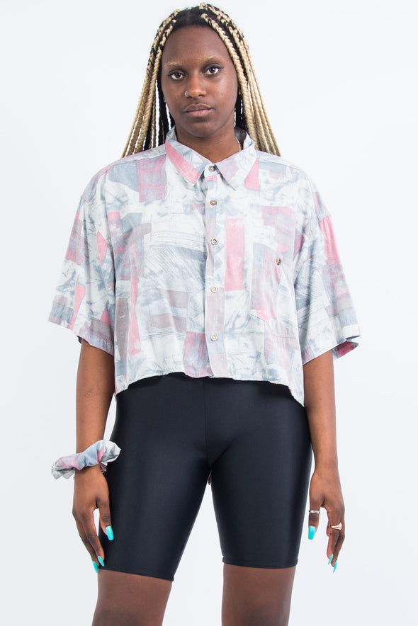 Vintage 90's Cropped Abstract Shirt and Matching ScrunchieVintage 90's Cropped Abstract Shirt and Matching Scrunchie
