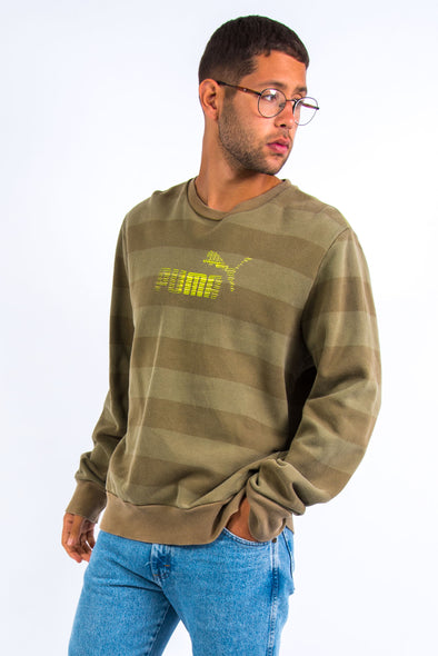00's Puma Green Striped Sweatshirt