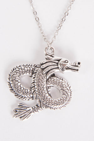 Y2K Dragon Silver Chain Necklace