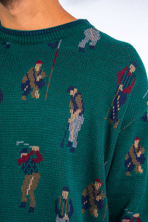 90's Vintage Golf Pattern Knit Jumper