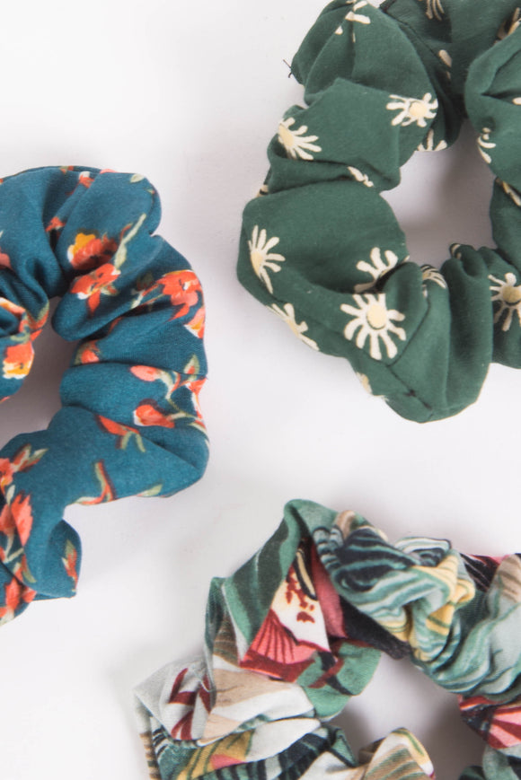 Green Floral Scunchie 3 Pack