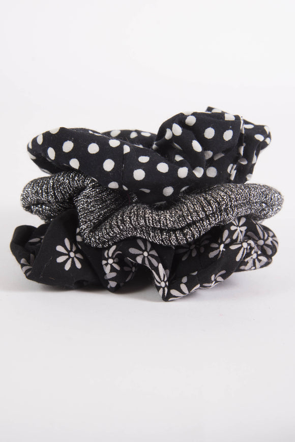 Black Pattened Luxe Scunchie 3 Pack