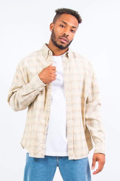 90's Beige Checked Cord Shirt