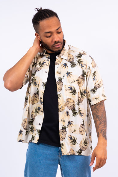 Vintage Pinapple Print Short Shirt
