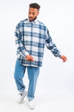 Vintage Blue Cord Check Pattern Shirt