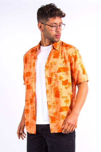 Vintage Orange Hawaiian Shirt