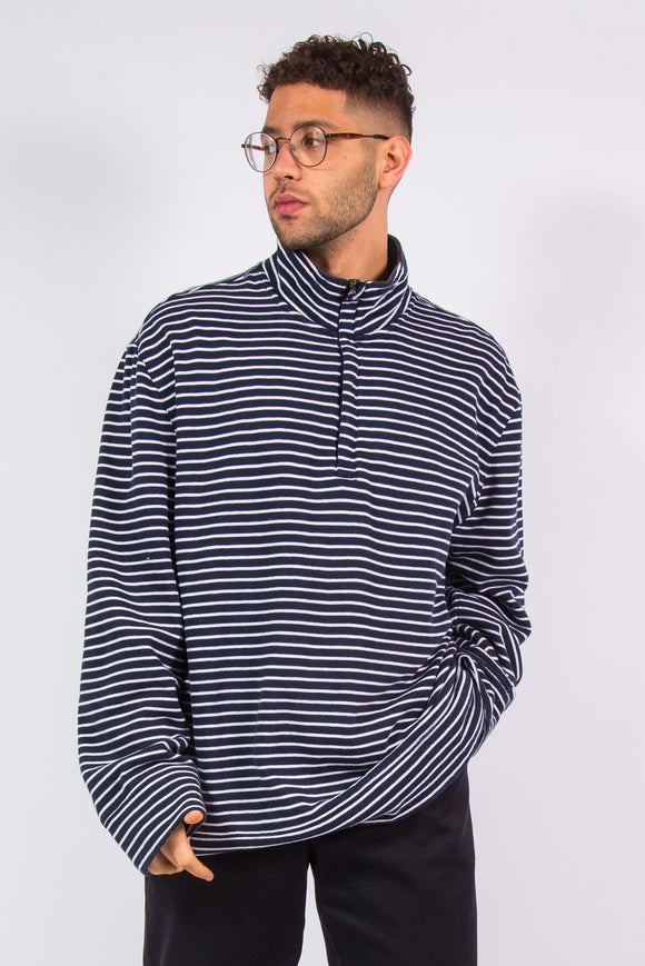 Nautica Navy Blue Striped 1/4 Zip Sweatshirt