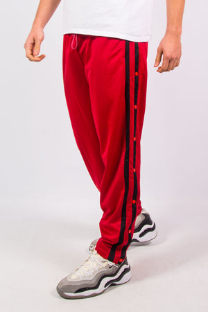 90's Vintage Red Popper Fastening Tracksuit Bottoms