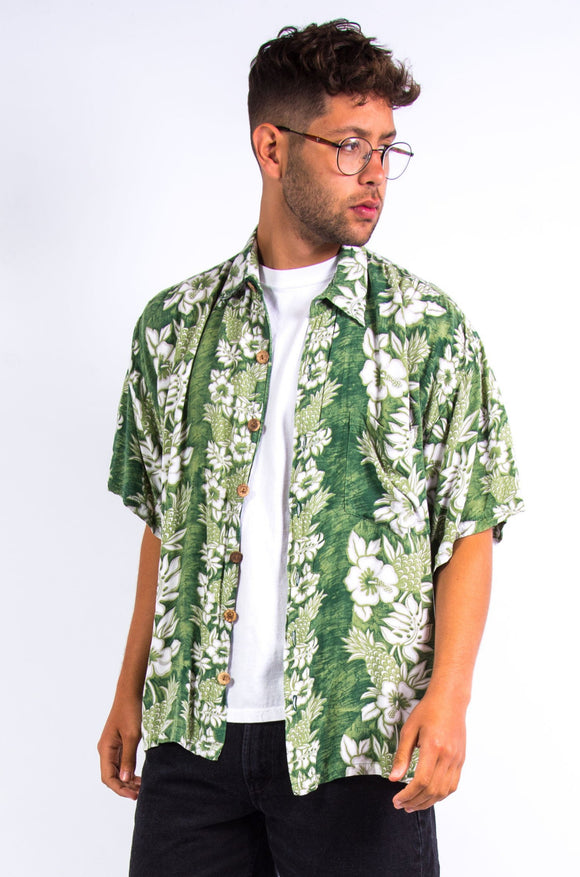 Vintage Green Floral Hawaiian Shirt