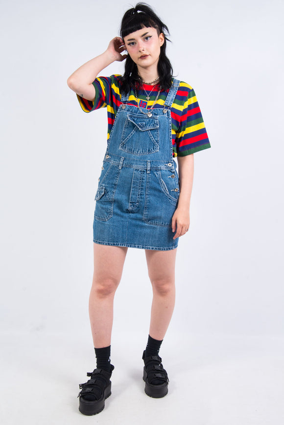 Vintage 90's Denim Short Dungaree Dress
