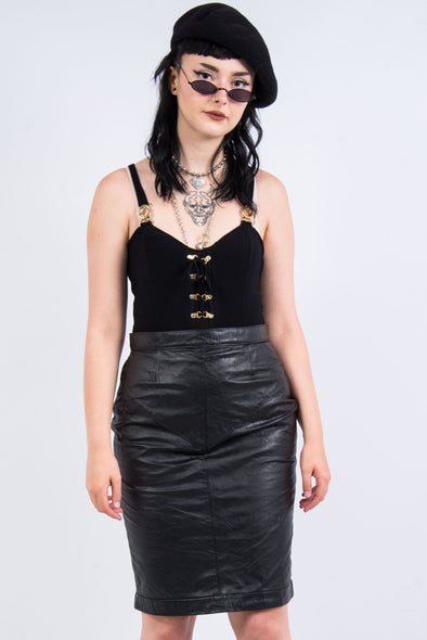 Vintage 90's Grunge Leather Pencil Skirt