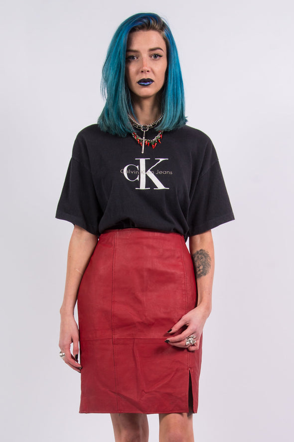 Vintage 90's Red Leather Mini Skirt