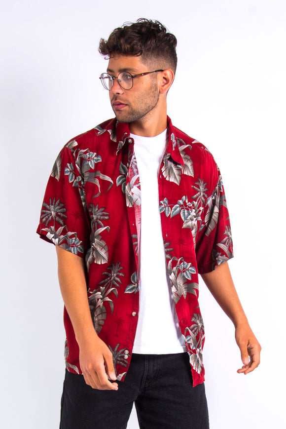 Vintage Red Palm Print Hawaiian Shirt
