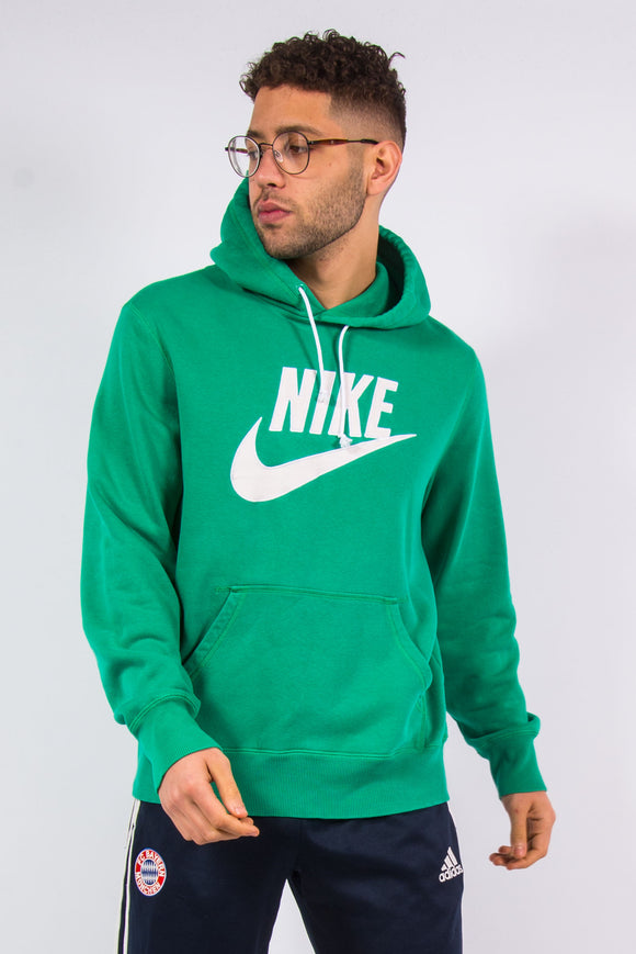Nike spell out embroidered logo green hoodie