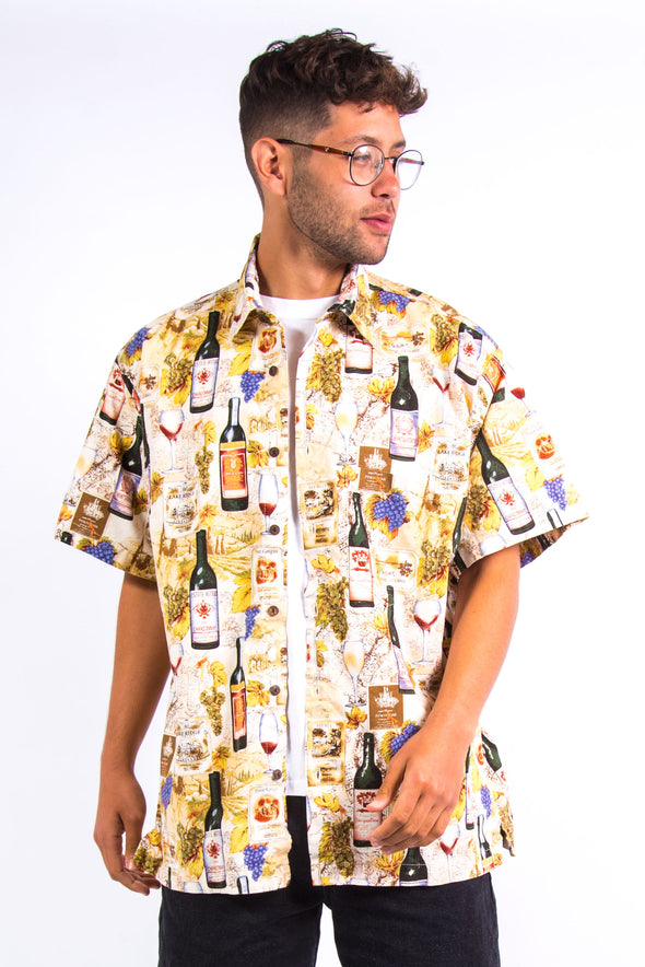 Vintage Wine Print Pattern Shirt
