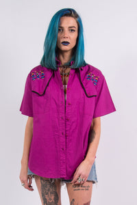 Vintage 90's Embroidered Purple Shirt