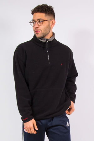 Nautica 1/4 zip fleece pullover with grey trim on collar and embroidered logo on chest