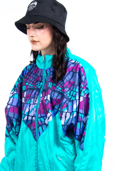 Vintage 90's Abstract Print Shell Jacket