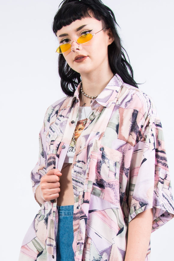 Vintage 90's Pink Abstract Patterned Shirt