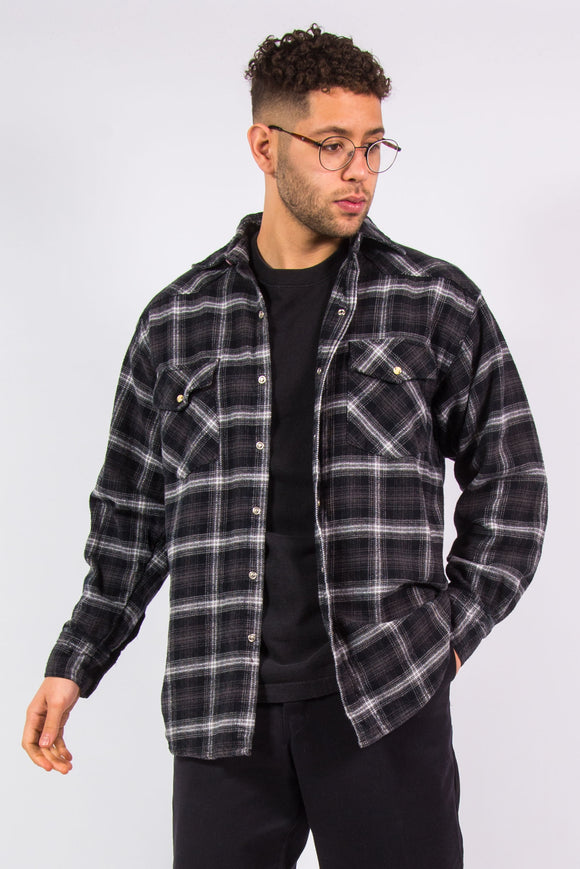 Snap Fasten Thick Flannel Shirt