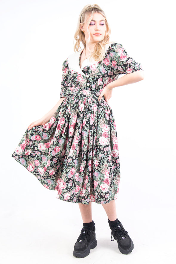 Vintage 80's Statement Collar Floral Dress