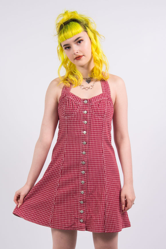 Vintage 90's Checked Red Denim Dress