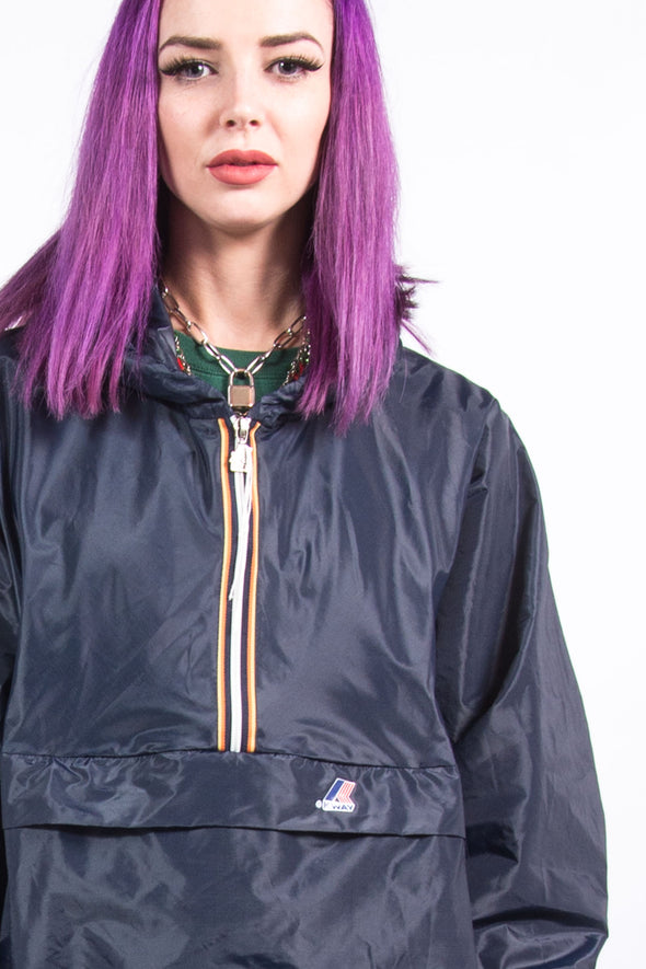 Vintage Hooded K-Way 1/4 Zip Raincoat