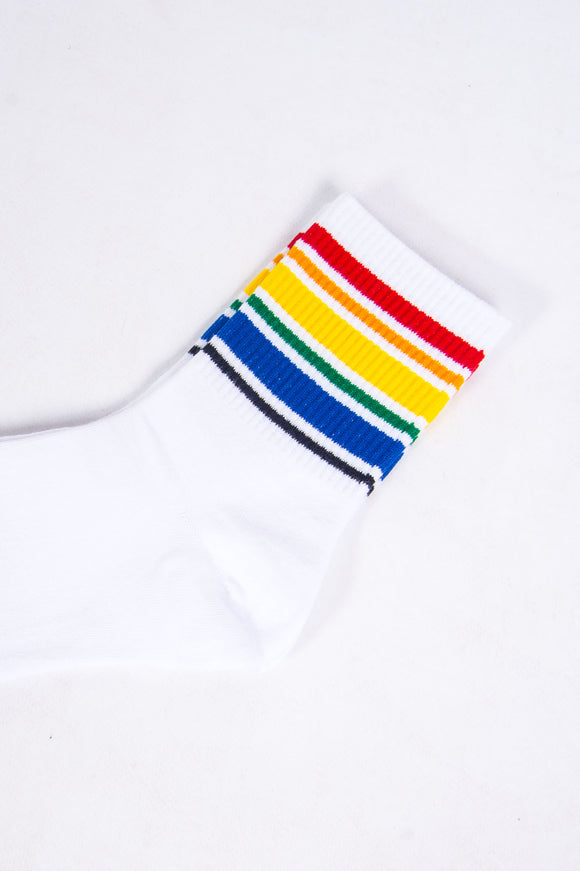 Rainbow Striped White Tube Socks