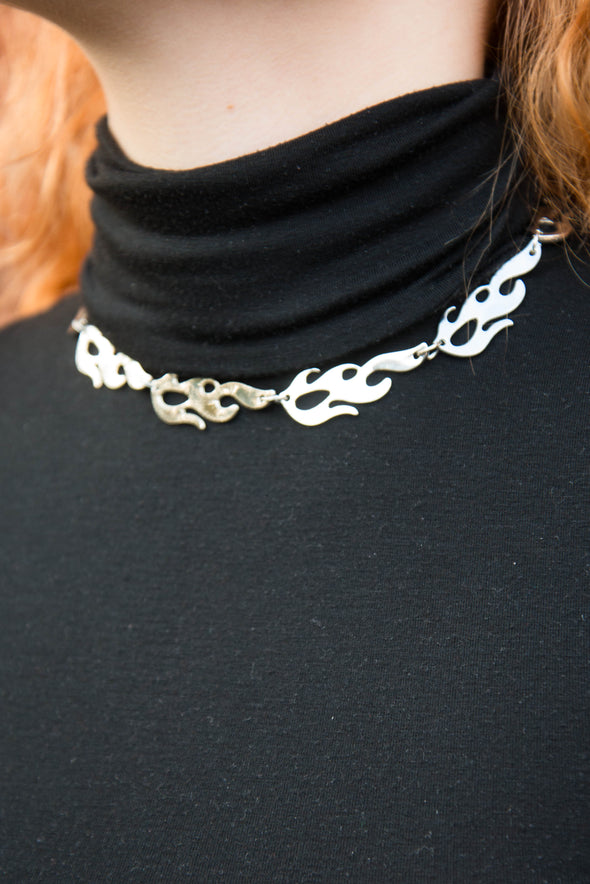 Y2K Flame Choker Necklace