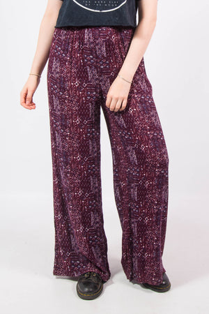 Vintage 90's Purple Floral Hippie Trousers