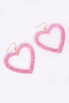Cute Glittery Pink Heart Earrings