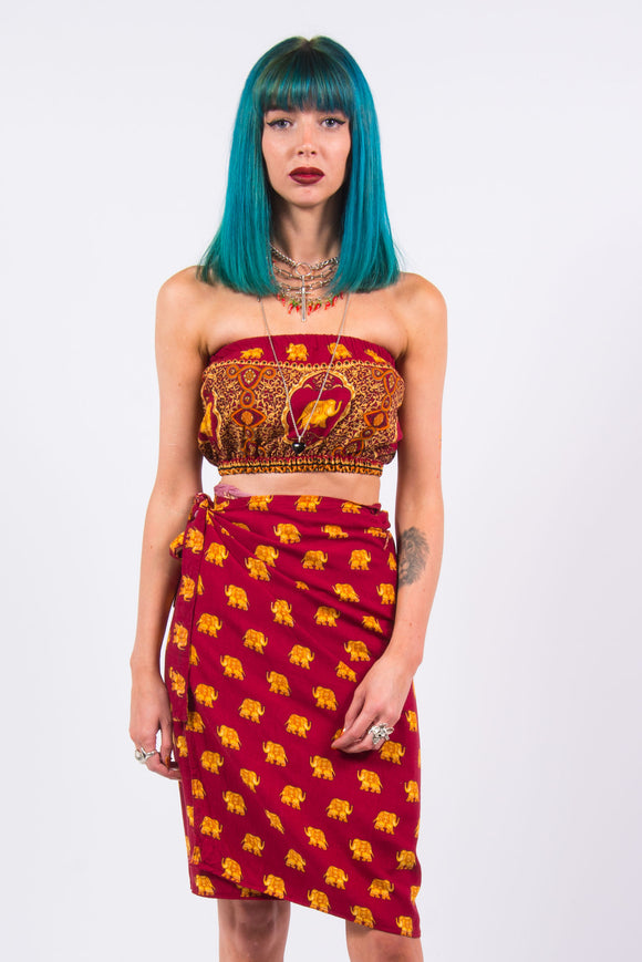 Vintage 90's Elephant Co-Ord Top & Skirt