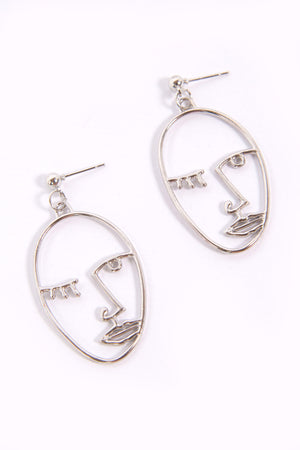 Silver Picasso Face Earrings