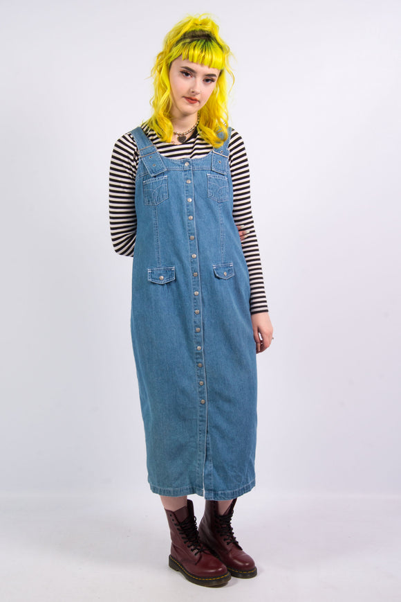 Vintage 90's Midi Pinafore Denim Dress
