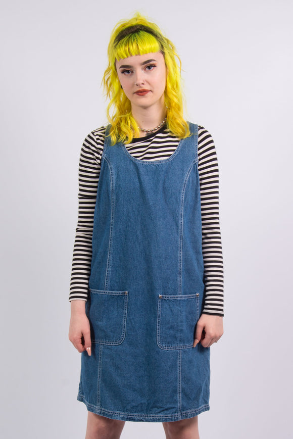 Vintage 90's Pinafore Denim Dress