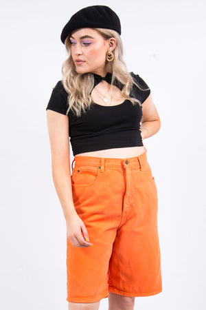 Vintage 90's Orange Denim Mom Shorts