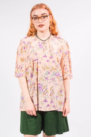 Vintage Floral Patterned Blouse Top