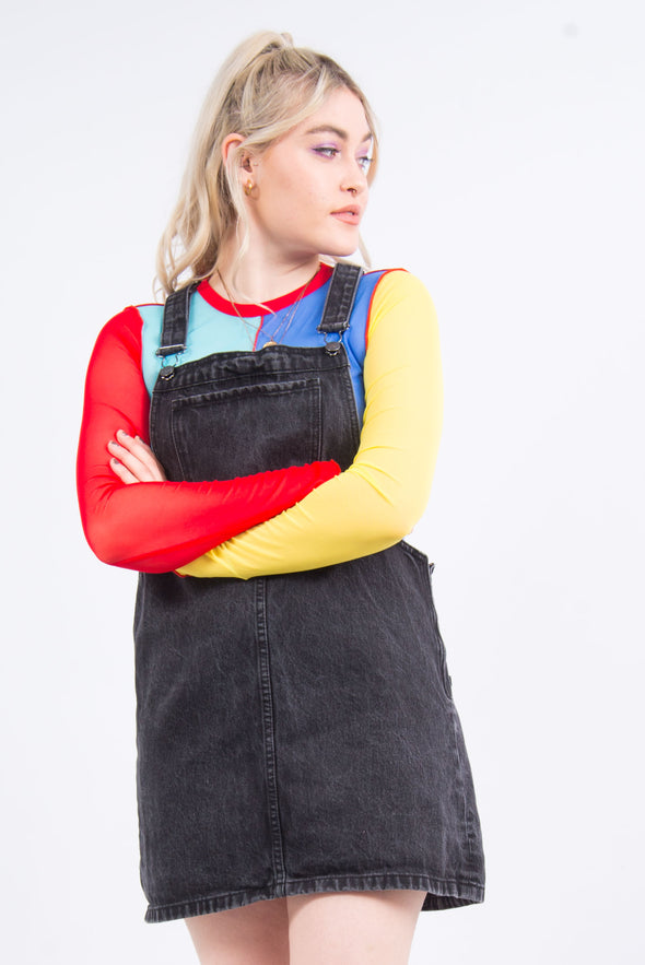Black Denim Dungaree Dress