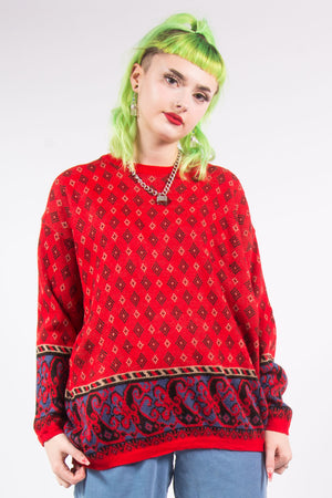 Vintage 90's Red Abstract Knit Jumper