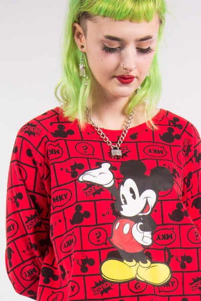 Vintage Red Disney Mickey Mouse Sweatshirt