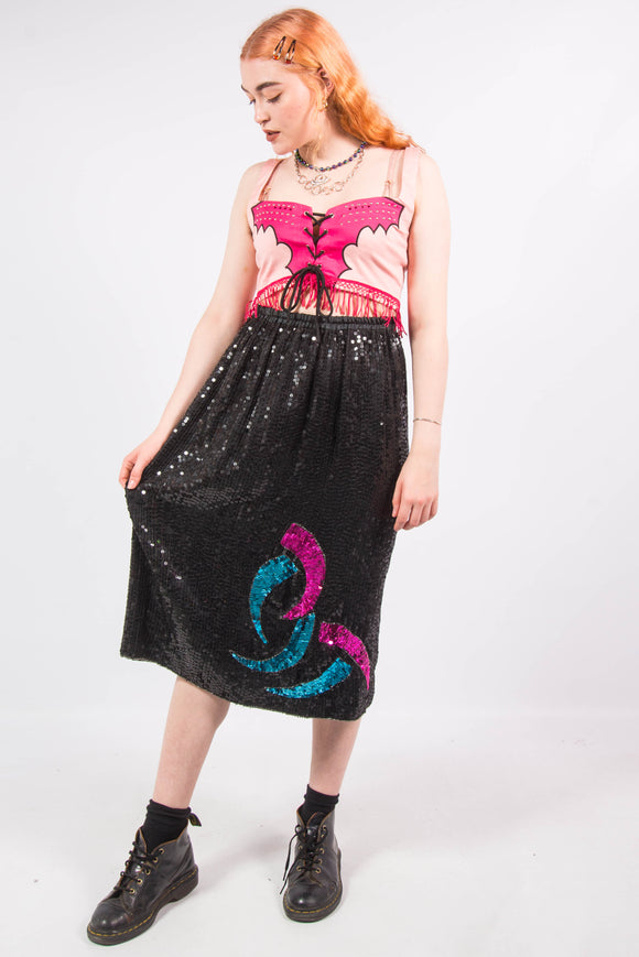Vintage 80's Sequin Midi Skirt