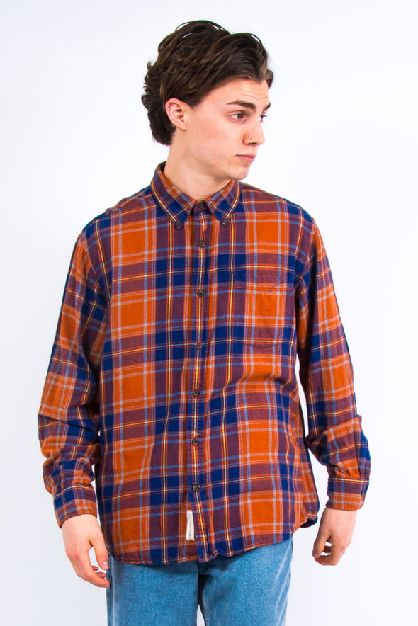 Retro Orange Check Flannel Shirt