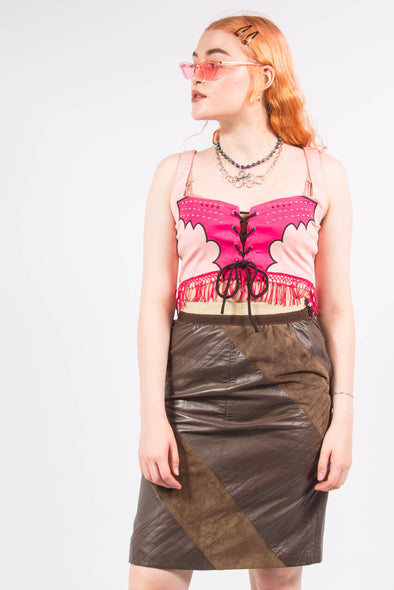Vintage Brown Leather & Suede Skirt