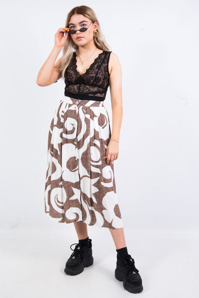 Vintage 90's Abstract Floral Print Midi Skirt