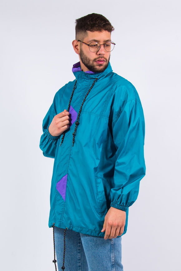 90's Vintage Colour Block Waterproof Cagoule Jacket